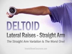 Lateral Deltoid Raise exercise with a straight elbow