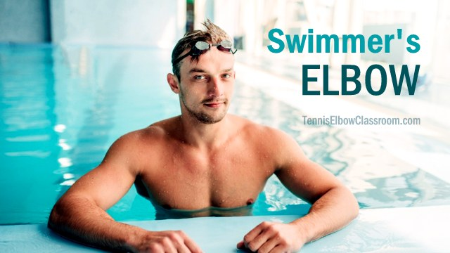 Picture of swimmer in pool: Does swimming help or hurt Tennis Elbow?